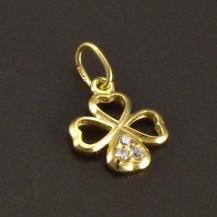 Zlatý prořezávaný přívěsek čtyřlístek
