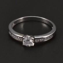 Prsten z bílého zlata s briliantem a zirkony