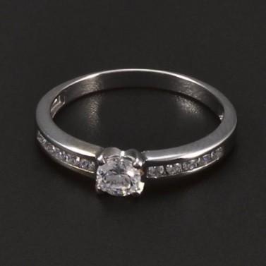 Prsten z bílého zlata s briliantem a zirkony č.1