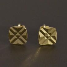 Čtvercové zlaté náušnice na šroubek