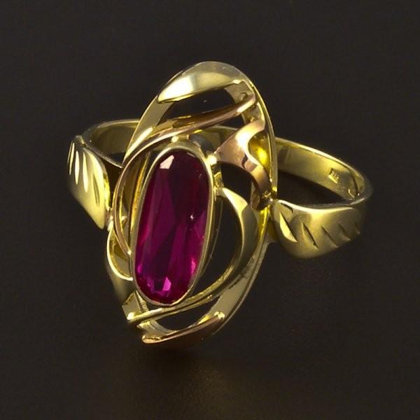 Zlatý prsten žluté a červené zlato rubín č.1 ... bea40aa41fc