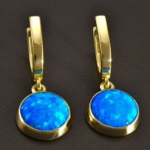 Zlaté náušnice modrý kulatý opál