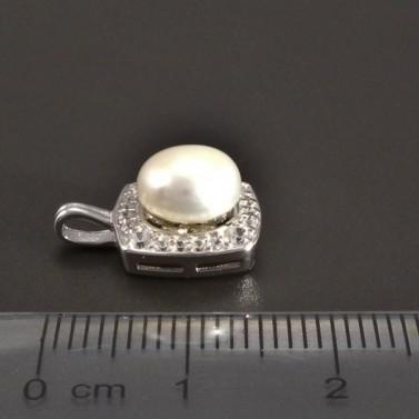 Stříbrný přívěsek s perlou a zirkony č.2