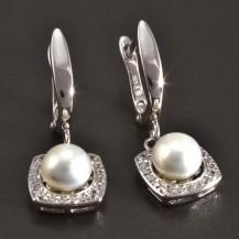 Stříbrné náušnice s perlou a zirkony