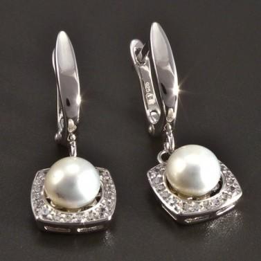 Stříbrné náušnice s perlou a zirkony č.1