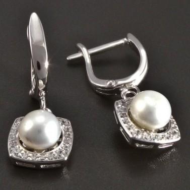 Stříbrné náušnice s perlou a zirkony č.2