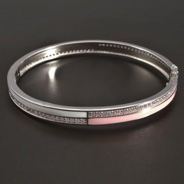 Stříbrný pevný a oválný náramek č.1
