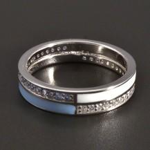 Stříbrný prsten modrobílý