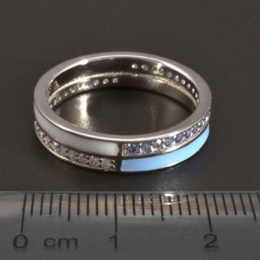 Stříbrný prsten modrobílý č.2