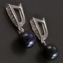 Náušnice bílé zlato s černou perlou