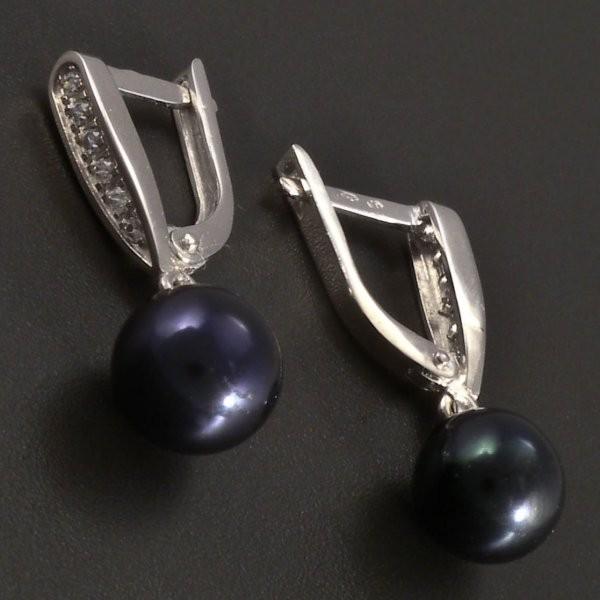 ... Náušnice bílé zlato s černou perlou č.2 ... bdfbc5ded81