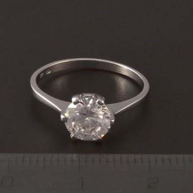 Stříbrný prsten zirkon 7 mm č.2