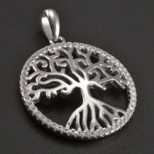 Stříbrný strom života se zirkony v kruhu