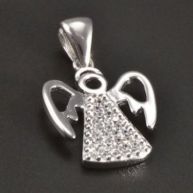 Stříbrný anděl s drobnými zirkony č.1