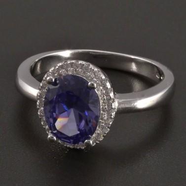 Stříbrný prsten modrofialový zirkon č.1