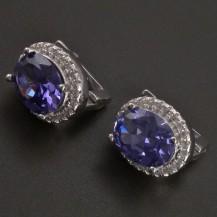 Stříbrné náušnice modrofialové