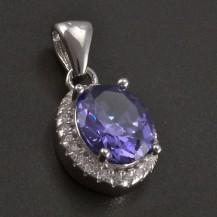 Stříbrný modrofialový přívěsek