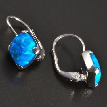 Náušnice bílé zlato s modrým Opálem č.2