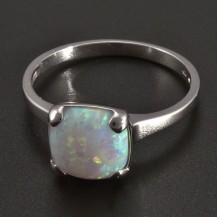 Prsten bílé zlato bílý Opál