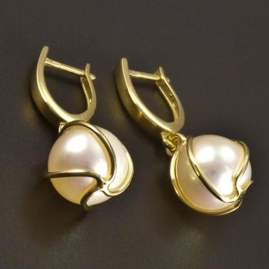 Zlaté náušnice perla 10 mm č.1