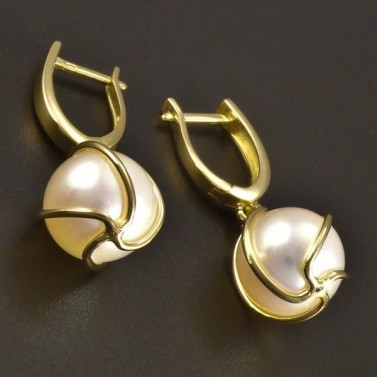Zlaté náušnice perla 10 mm č.2