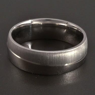 Stříbrný prsten lesk a mat č.1