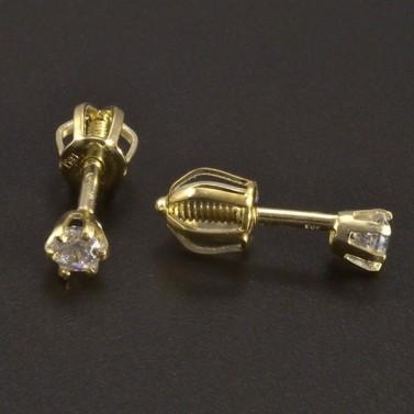 Zlaté náušnice na šroubek se zirkonem č.2