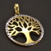 Zlatý přívěs strom života žlutobílý