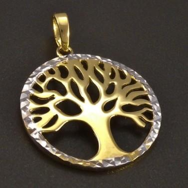 Zlatý přívěs strom života žlutobílý č.1