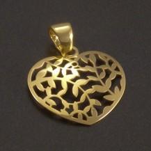 Zlatý prořezávaný přívěsek srdce