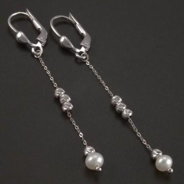 Visací náušnice s perlou bílé zlato č.1