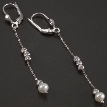 Visací náušnice s perlou bílé zlato č.2