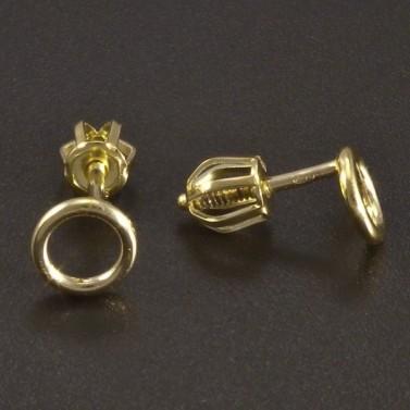Zlaté náušnice kroužky na šroubek č.2
