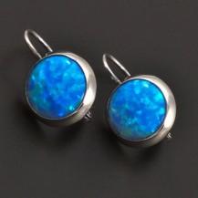 Modré opálové náušnice ze zlata 7061