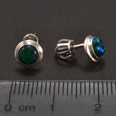 Zelené opálové náušnice bílé zlato 6852 č.3