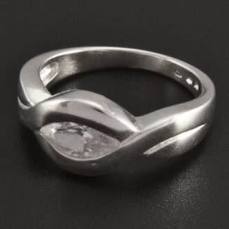 Stříbrný prsten s velkým oválným zirkonem 200 č.1