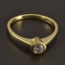 Zásnubní prsten zlatý s bílým zirkonem