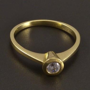 Zásnubní prsten zlatý s bílým zirkonem č.1