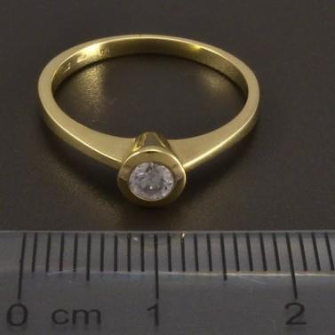 Zásnubní prsten zlatý s bílým zirkonem č.2