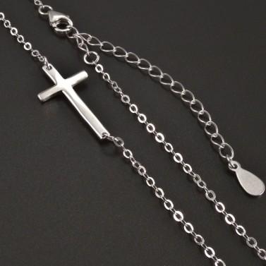 Stříbrný křížek naležato náhrdelník č.2