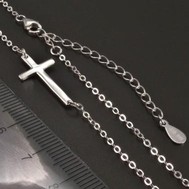 Stříbrný křížek naležato náhrdelník č.3
