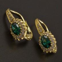 Zlaté náušnice oválný smaragd se zirkony