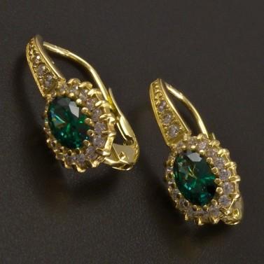 Zlaté náušnice oválný smaragd se zirkony č.1