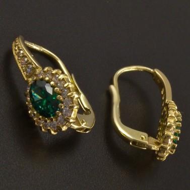 Zlaté náušnice oválný smaragd se zirkony č.2