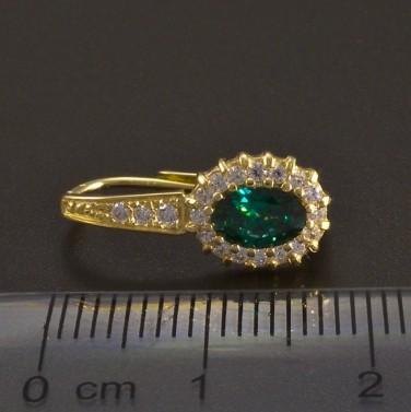 Zlaté náušnice oválný smaragd se zirkony č.3
