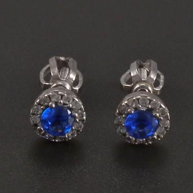 Náušnice bílé zlato s modrým safírem a zirkony č.1