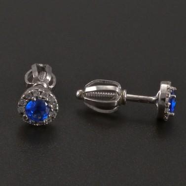 Náušnice bílé zlato s modrým safírem a zirkony č.2