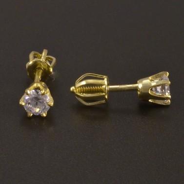 Zlaté pecky se zirkony na šroubek č.2