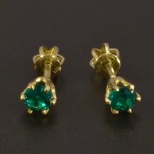 Zlaté náušnice smaragd pecky na šroubek
