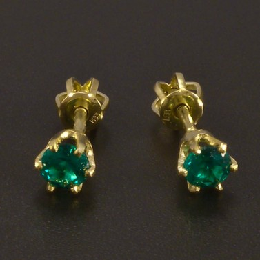 Zlaté náušnice smaragd pecky na šroubek č.1